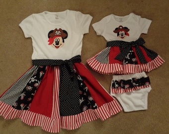 Sibling- Sister Pirate Girl Ruffle Dress and Infant Dress Set