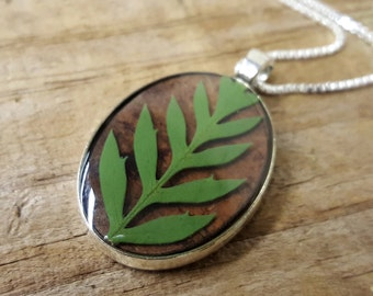Real Fern Necklace - Pressed Leaf Statement Necklace - Birch Bark Jewelry - Green Fern Oval - Rustic Woodland Necklace - Nature Jewelry