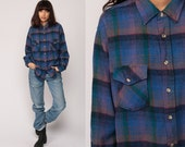 Plaid FLANNEL Shirt Button Up 90s Grunge Flannel Wool Blue Purple Checkered Long Sleeve 1990s Lumberjack Vintage Retro Button Up Large