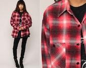 90s Plaid Shirt Oversized Red Flannel Shirt Black Grunge Button Up 80s Lumberjack Vintage Oversize Long Sleeve Large
