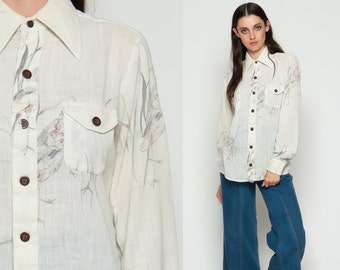 Bird Shirt Boho Blouse 70s Bohemian Top Cotton Novelty Print Button Up 1970s Hippie Long Sleeve Vintage White Semi Sheer Large