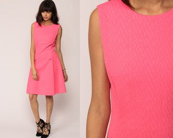 Pink Dress Bright Pink Mod Mini 60s Shift Gogo Twiggy 70s Plain Polyester Vintage Sleeveless Go Go Space Age Medium