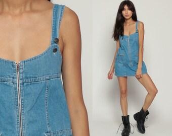 90s Denim Dress Overall Dress SKORT Mini Jumper Jean Dress Culottes Suspender 1990s Grunge Blue Low Cut Small