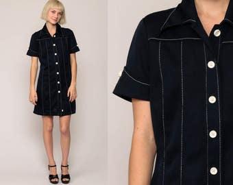 Mod Dress Shirtdress 70s Mini Shift Button Up COLLARED Navy Blue Plain 1970s Short Sleeve Vintage Twiggy Shirt Dress Minidress Medium