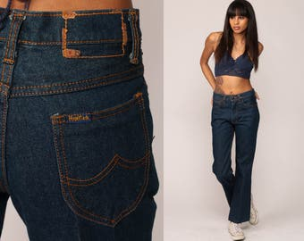 Bell Bottoms Jeans High Waisted 70s Denim Pants Boho Hippie 1970s Vintage Bohemian Dark Blue Jean Flared Small