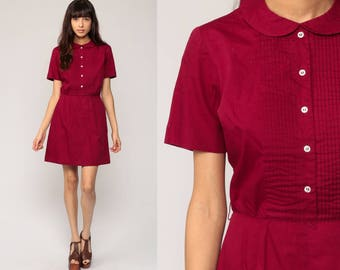 Peter Pan Dress 60s Mod Mini COLLAR Day Mad Men Burgundy Plain 70s High Waisted Vintage Sixties Short Sleeve Cotton Button Up Small
