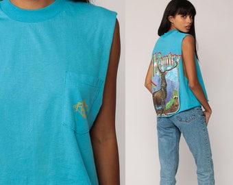 Graphic Shirt Animal Tank Top ELK COUNTRY 80s Graphic Wildlife Deer Print Mountain Retro Tee 1990s Vintage Turquoise Blue Large