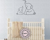 SALE Elephant Wall Decal with Heart - Vinyl Wall Art Animal Graphics - Baby Nursery Kids Room Wall Art Decals NW0054