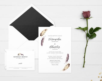 The 'Greer' Watercolour Feather Wedding Invitation Suite (Sample)