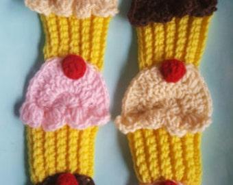 sale. crochet cupcake neapolitan scarf