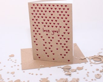 I Love You, Hearts- Valentines/Anniversary/Romantic handmade greetings card, personalisation available