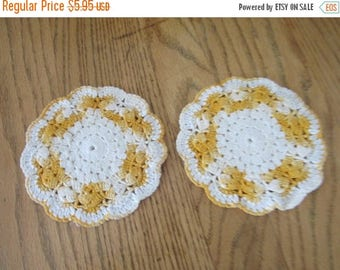 SALE- Vintage Hand Crocheted Hot Pads, 6 in., Gold and White, Cotton Thread