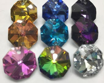 9  Iridescent 14mm 2-Hole - Variety Set -Chandelier Crystals Connectors (S-PB)