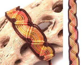 Friendship bracelet - Peruvian - snake pattern - wave - woven - macrame - handmade - braided - string - knotted - thread - brown - gold