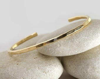 Medium Textured Cuff, Hammered bangle in yellow gold fill, custom size stacking cuff