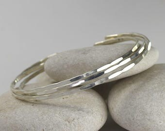 3 Thin Silver Cuffs, Hammered sterling silver bangles, custom size stacking bracelets