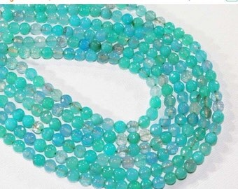 """HOLIDAY SALE 7"""" Gemstone STRAND - Agate Beads - 6mm Faceted Rounds - Soft Aqua Blue and Teal Green (7"""" strand ~30 beads) - str1211"""