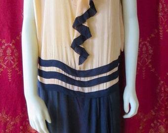 Antique 1920s Flapper Dress Peach & Navy Silk Pleated Skirt AS IS 34 Bust