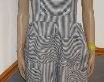 Women's  Pinstripe Jean Bib Overalls ~ Casual Romper Pockets Galore Adjustable  snap Waistline