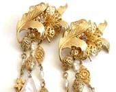 Vintage Kirks Folly Statement Flower Pearl Dangle Clip on Earrings