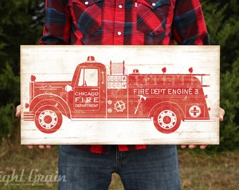Vintage Fire Engine Wall Art - Boys Room Fire Truck Print - Baby Boy Nursery Decor - Wood Sign Print - Firefighter Gift for Him - FireTruck