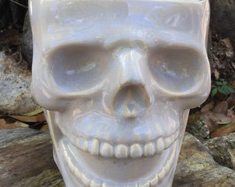 Skull, planter, skull planter, head planter, ceramic, oyster shell, grey, unusual, house plant
