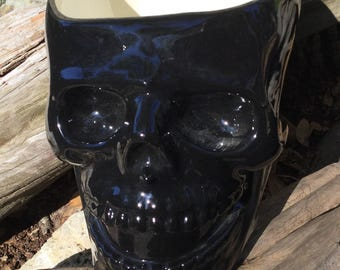 Skull, planter, skull planter, head planter, ceramic, Black, unusual, house plant