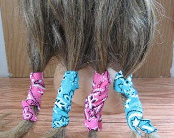 Dread Wraps, Hair Curlers,  Aqua and Pink Print, Ponytail Wraps, Dread Accessories, Wired Dread Holders, Hair Accessories, Set of 4