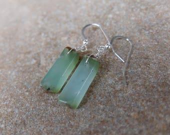 Chrysoprase Earrings - green gem stone jewelry - handmade in Australia - natural stone jewellery - green crystal earrings
