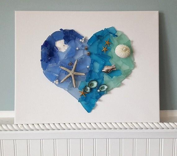 Beach Decor Sea Glass Heart Wall Hanging Nautical Decor Sea