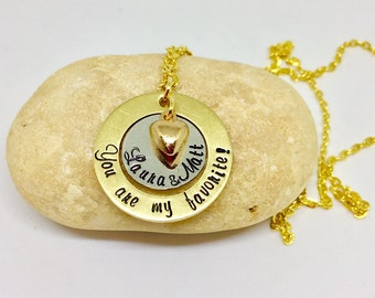 """Personalized """"You're My Favorite!"""" Necklace in brass/Silver with Custom Name Pendant gift for couple, father,mother necklace"""