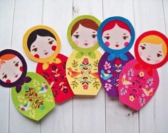 Matryoshka Doll Appliques, Russian Doll, Babushka Doll, Iron On Appliques, Scrapbook supply, Girl Applique, Baby Applique, Craft Supply