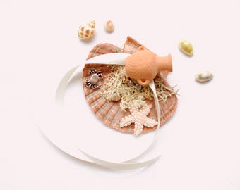 Mediterranean Seashell Ring Bearer Pillow, Seashell Engagement Ring Holder, Nautical Beach Hawaiian Wedding Party, Starfish, Crab, Mermaid
