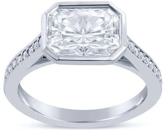 Radiant Bezel Set Diamond Engagement Ring RAD109