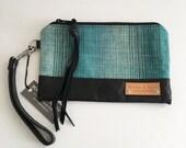 READY TO SHIP - Hadley Wristlet - Blue Woven Fabric with Black Leather - Handmade - Boho Clutch - Bohemian Fashion