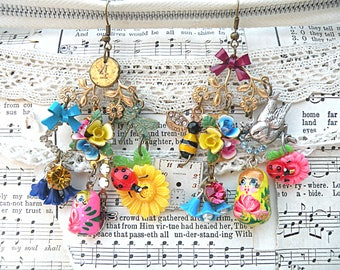 vintage enamel flower earrings assemblage mismatched charms chandelier fairy garden pixie watch dial recycled jewelry