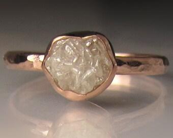 Raw Diamond Engagement Ring, Hammered Raw Diamond Ring, 14k Rose Gold Rough Diamond Ring , 1.90 Carats
