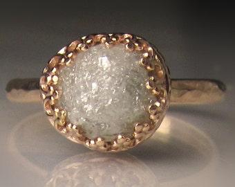 Raw Diamond Engagement Ring 14k Gold - 3.89CTS