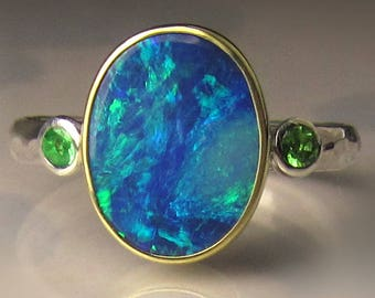 Boulder Opal Ring, 18k Yellow Gold and Sterling Silver Australian Opal Ring, Opal Ring, Opal Tsavorite Ring
