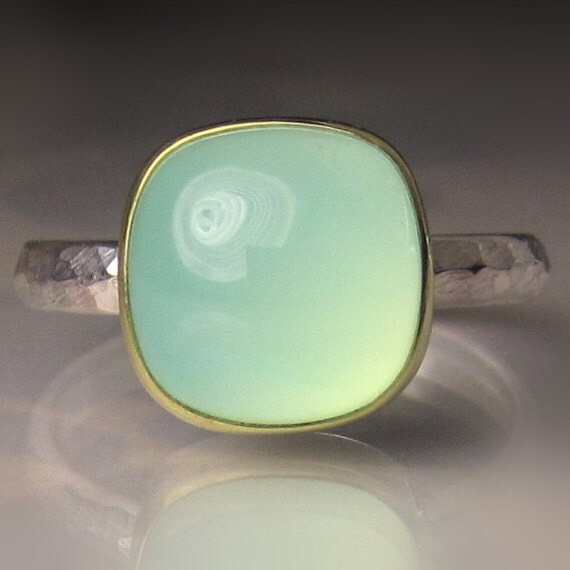 Sea Green Chalcedony Ring, 18k Gold an Sterling Silver, Gemstone Cocktail Ring