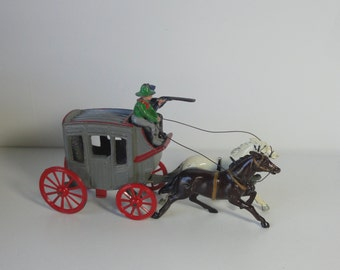 1950s' JOHILLCO die cast metal  Stage Coach with 2 Drivers and two Horses Toy