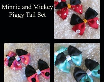 Inspired by Mickey and Minnie Mouse. Hair Bow Set of Two, Red and Black, Teal and Black, Pink and Black Minnie Mouse Hair Bow Set