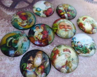 free UK postage Pack of 10 Christmas Theme 25 mm Cabochons