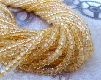 free UK postage Strand of 125 Citrine Faceted Rondelle Gemstone Beads AAA Grade