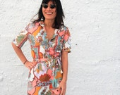 Vintage 1970s Psychedelic Novelty Print Shift Dress Colorful Southwestern House Dress by Gailord L/XL