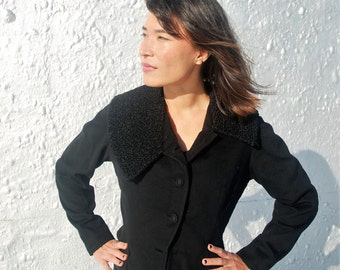 Vintage 1950s Lilli Ann Black Blazer with Persian Lamb Wool Details M/L