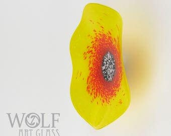 MADE TO ORDER Blown Glass Wall Sculpture Bright Yellow and Red Wild Flower with Red Glass Wall Art