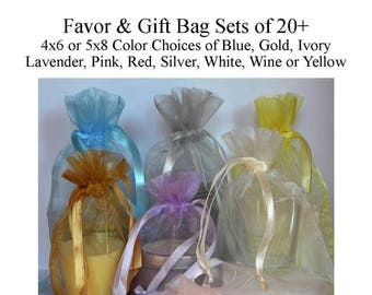 Favor Bags 4 x 6 or 5 x 8 (5x7) - Gift Bags - Organza Bags - Wedding Favor Bags - Baby Shower, White, Ivory, Pink, Blue, Lavender, Silver