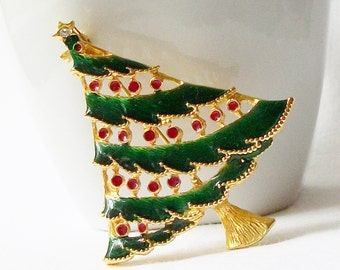 ON SALE Vintage Christmas Tree Brooch, Vintage Christmas Jewelry