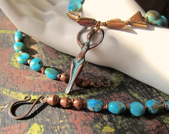 Copper Goddess Necklace w Natural Nevada Turquoise